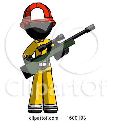 Black Firefighter Fireman Man Holding Sniper Rifle Gun by Leo Blanchette