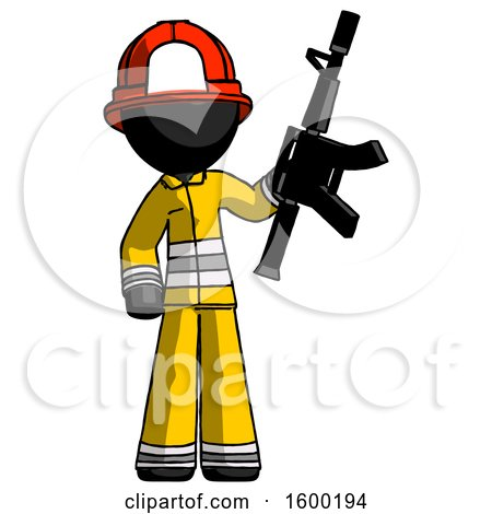 Black Firefighter Fireman Man Holding Automatic Gun by Leo Blanchette