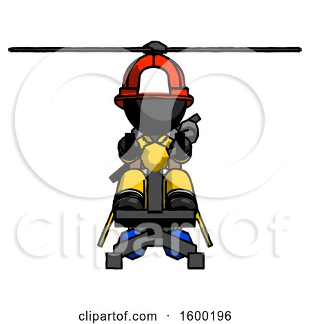 Black Firefighter Fireman Man Flying in Gyrocopter Front View by Leo Blanchette