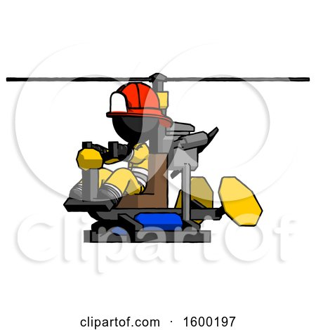 Black Firefighter Fireman Man Flying in Gyrocopter Front Side Angle View by Leo Blanchette