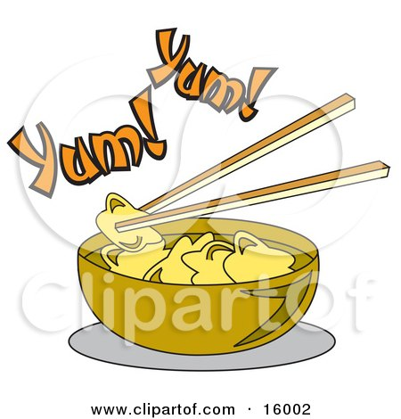 Chopsticks Lifting Food Out Of A Bowl Of Won Ton Soup Clipart Illustration by Andy Nortnik