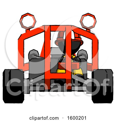 Black Firefighter Fireman Man Riding Sports Buggy Front View by Leo Blanchette
