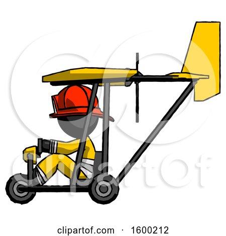 Black Firefighter Fireman Man in Ultralight Aircraft Side View by Leo Blanchette