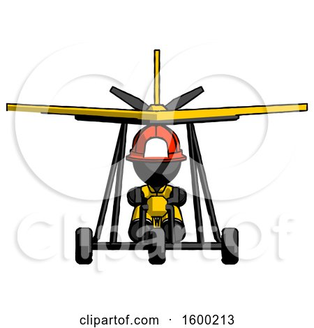 Black Firefighter Fireman Man in Ultralight Aircraft Front View by Leo Blanchette