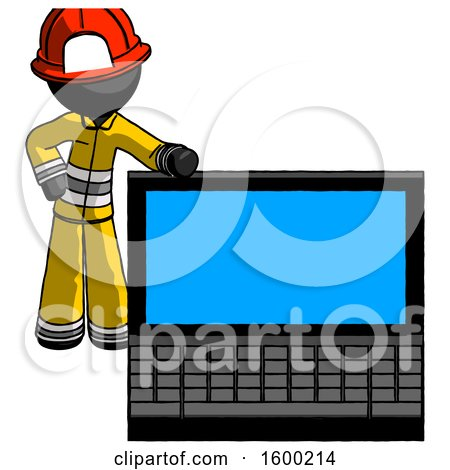 Black Firefighter Fireman Man Beside Large Laptop Computer, Leaning Against It by Leo Blanchette