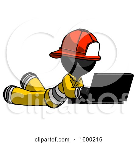 Black Firefighter Fireman Man Using Laptop Computer While Lying on Floor Side Angled View by Leo Blanchette