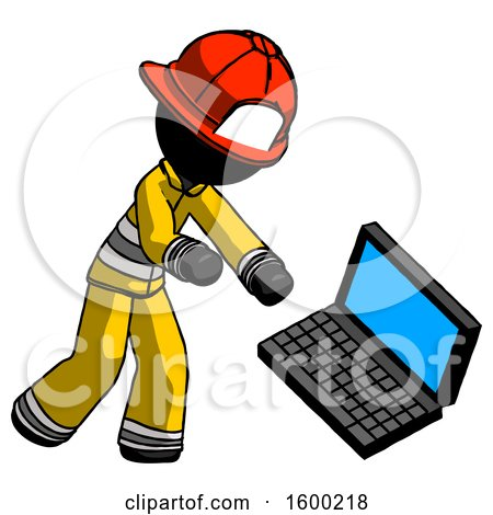 Black Firefighter Fireman Man Throwing Laptop Computer in Frustration by Leo Blanchette
