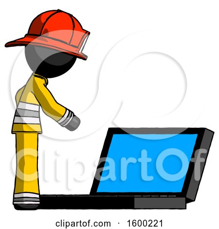 Black Firefighter Fireman Man Using Large Laptop Computer Side Orthographic View by Leo Blanchette