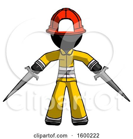 Black Firefighter Fireman Man Two Sword Defense Pose by Leo Blanchette