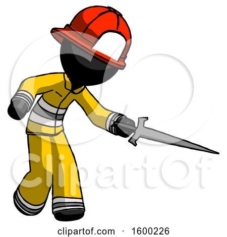 Black Firefighter Fireman Man Sword Pose Stabbing or Jabbing by Leo Blanchette