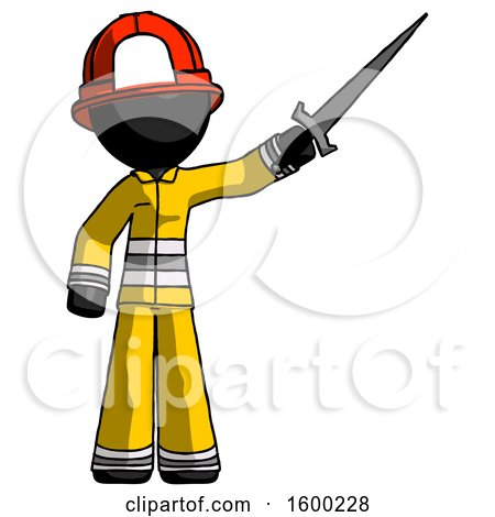 Black Firefighter Fireman Man Holding Sword in the Air Victoriously by Leo Blanchette
