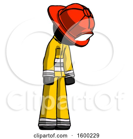 Black Firefighter Fireman Man Depressed with Head down Turned Right by Leo Blanchette