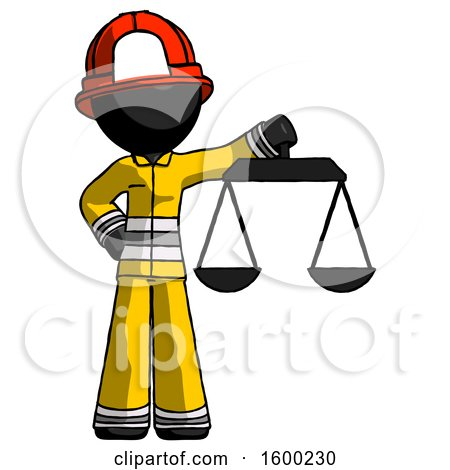 Black Firefighter Fireman Man Holding Scales of Justice by Leo Blanchette