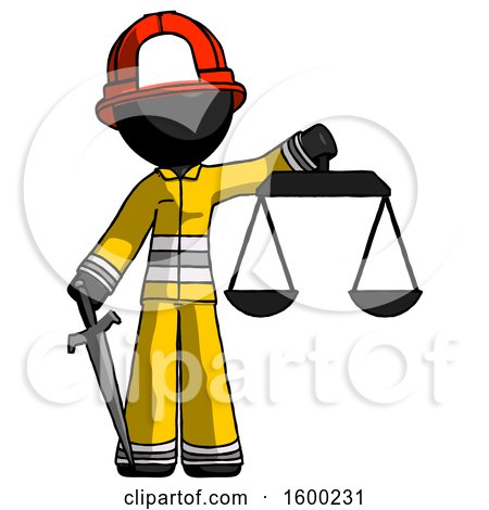 Black Firefighter Fireman Man Justice Concept with Scales and Sword, Justicia Derived by Leo Blanchette