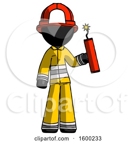 Black Firefighter Fireman Man Holding Dynamite with Fuse Lit by Leo Blanchette
