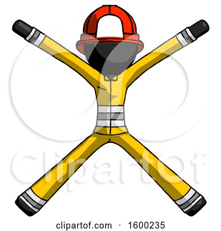 Black Firefighter Fireman Man with Arms and Legs Stretched out by Leo Blanchette