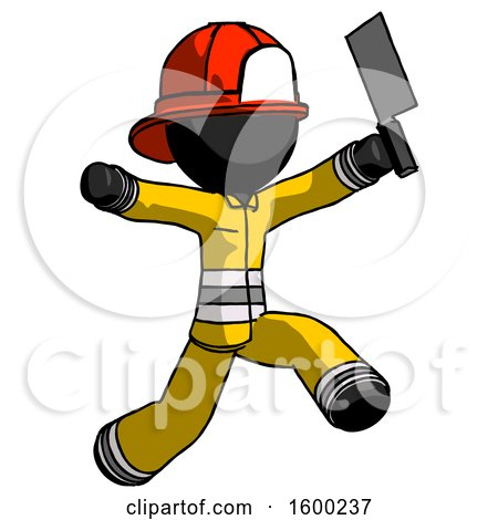 Black Firefighter Fireman Man Psycho Running with Meat Cleaver by Leo Blanchette