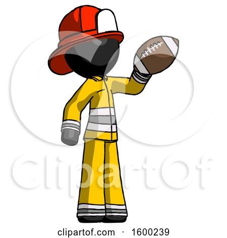 Black Firefighter Fireman Man Holding Football up by Leo Blanchette