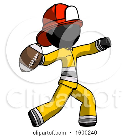 Black Firefighter Fireman Man Throwing Football by Leo Blanchette