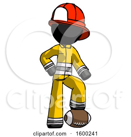 Black Firefighter Fireman Man Standing with Foot on Football by Leo Blanchette