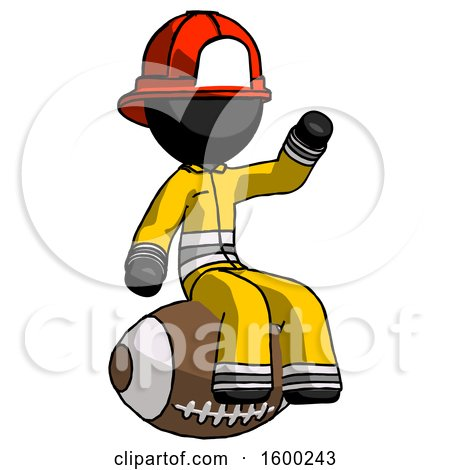Black Firefighter Fireman Man Sitting on Giant Football by Leo Blanchette