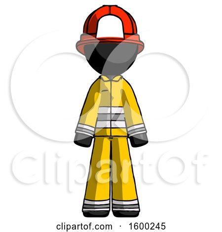 Black Firefighter Fireman Man Standing Facing Forward by Leo Blanchette