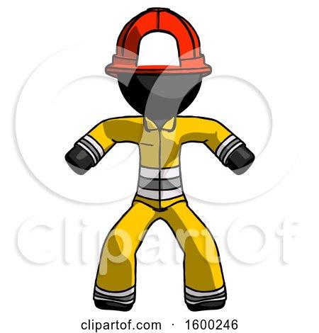 Black Firefighter Fireman Male Sumo Wrestling Power Pose by Leo Blanchette