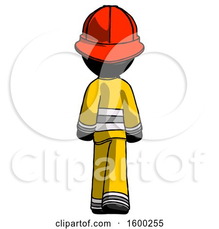 Black Firefighter Fireman Man Walking Away, Back View by Leo Blanchette