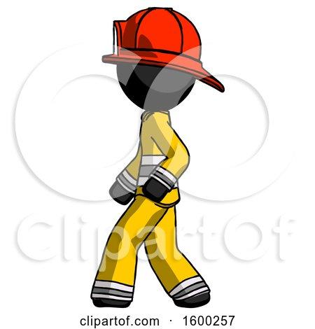 Black Firefighter Fireman Man Walking Left Side View by Leo Blanchette