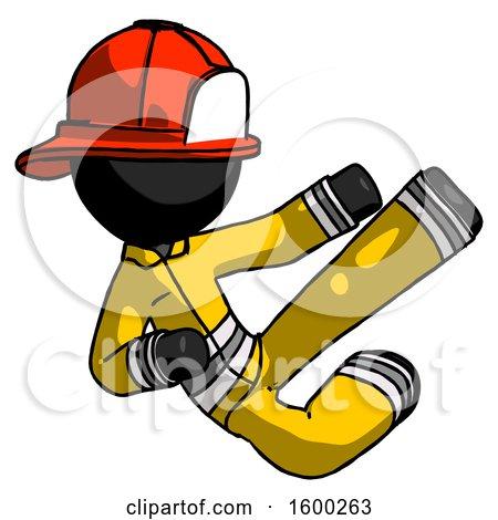 Black Firefighter Fireman Man Flying Ninja Kick Right by Leo Blanchette