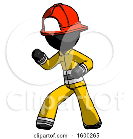 Black Firefighter Fireman Man Martial Arts Defense Pose Left by Leo Blanchette