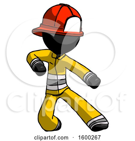 Black Firefighter Fireman Man Karate Defense Pose Right by Leo Blanchette