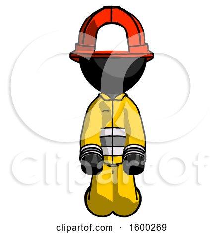 Black Firefighter Fireman Man Kneeling Front Pose by Leo Blanchette
