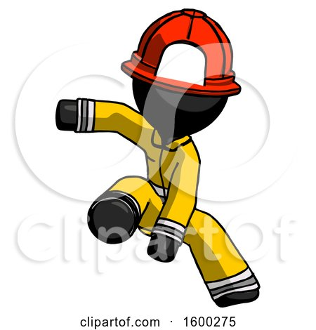 Black Firefighter Fireman Man Action Hero Jump Pose by Leo Blanchette