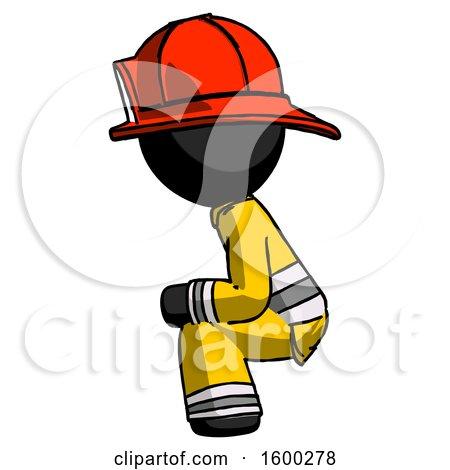 Black Firefighter Fireman Man Squatting Facing Left by Leo Blanchette