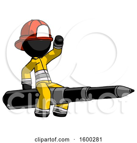 Black Firefighter Fireman Man Riding a Pen like a Giant Rocket by Leo Blanchette