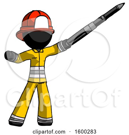 Black Firefighter Fireman Man Demonstrating That Indeed the Pen Is Mightier by Leo Blanchette