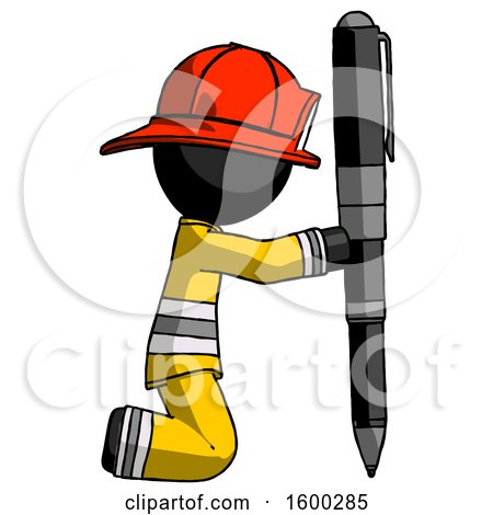 Black Firefighter Fireman Man Posing with Giant Pen in Powerful yet Awkward Manner. by Leo Blanchette