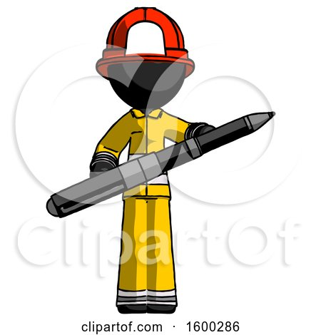 Black Firefighter Fireman Man Posing Confidently with Giant Pen by Leo Blanchette