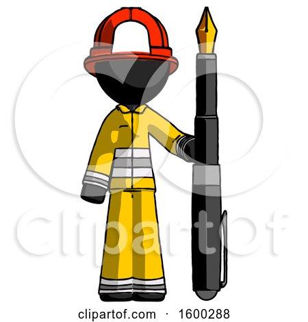 Black Firefighter Fireman Man Holding Giant Calligraphy Pen by Leo Blanchette