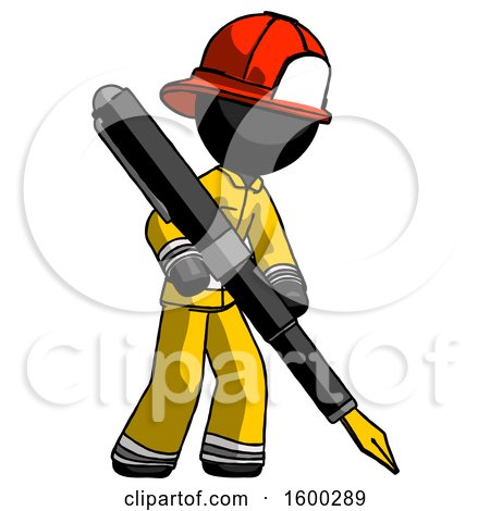 Black Firefighter Fireman Man Drawing or Writing with Large Calligraphy Pen by Leo Blanchette