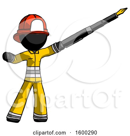 Black Firefighter Fireman Man Pen Is Mightier Than the Sword Calligraphy Pose by Leo Blanchette