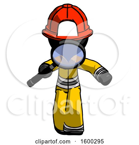 Black Firefighter Fireman Man Looking down Through Magnifying Glass by Leo Blanchette