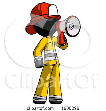 Black Firefighter Fireman Man Shouting into Megaphone Bullhorn Facing Right by Leo Blanchette