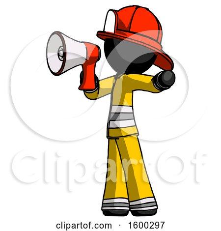 Black Firefighter Fireman Man Shouting into Megaphone Bullhorn Facing Left by Leo Blanchette