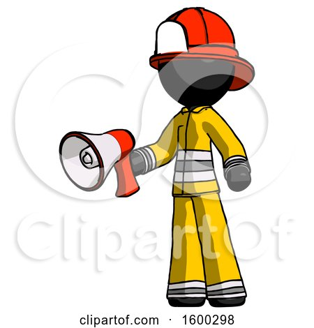 Black Firefighter Fireman Man Holding Megaphone Bullhorn Facing Right by Leo Blanchette