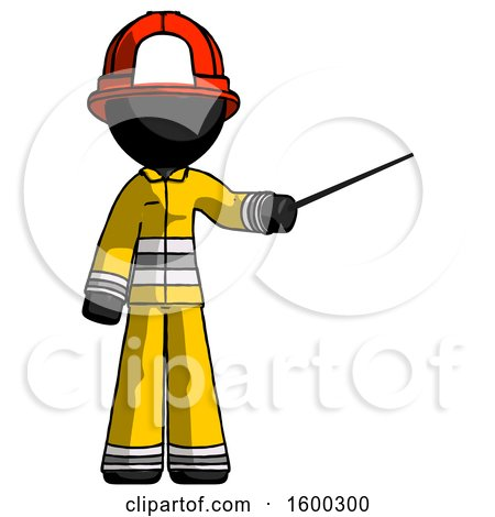 Black Firefighter Fireman Man Teacher or Conductor with Stick or Baton Directing by Leo Blanchette