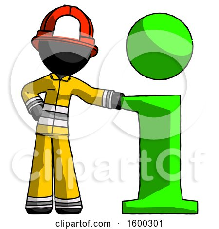 Black Firefighter Fireman Man with Info Symbol Leaning up Against It by Leo Blanchette
