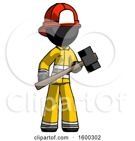 Black Firefighter Fireman Man with Sledgehammer Standing Ready to Work or Defend by Leo Blanchette