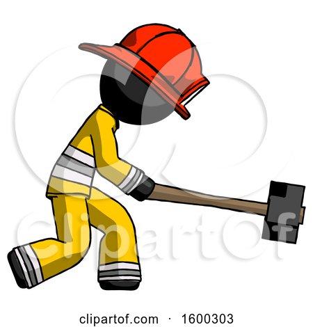 Black Firefighter Fireman Man Hitting with Sledgehammer, or Smashing Something by Leo Blanchette